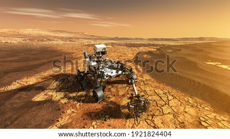 Mars Rover Perseverance exploring the red planet. Mission to explore the red planet. search for traces of life. Elements of image furnished by NASA Royalty-Free Stock Photo #1921824404