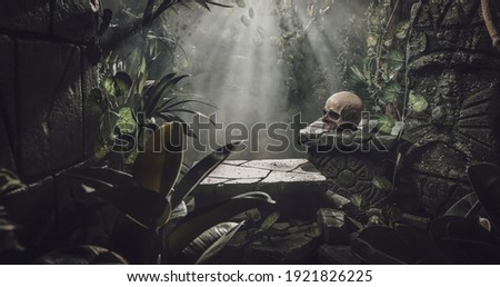 Human skull and ancient ruins in the jungle, exploration and adventure concept Royalty-Free Stock Photo #1921826225