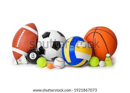 Set of sport equipment isolated on white background Royalty-Free Stock Photo #1921867073