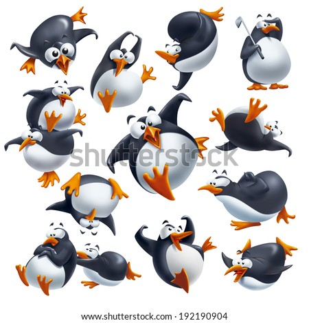 Set of cute funny penguins isolated on white with different expressions and poses.