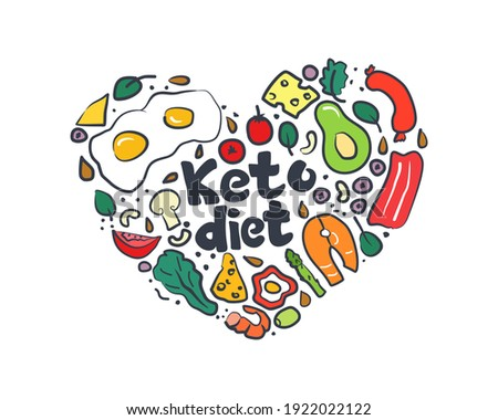 Keto diet, hand drawn inscription. Food doodle elements,set, illustration in cartoon style.Heart shaped banner in doodle style.Low carb diets.
