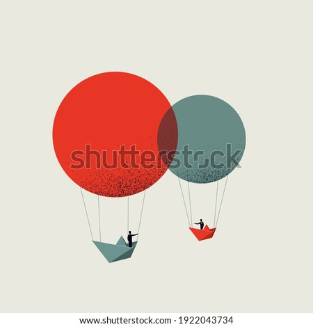 Business teamwork, creative brainstorming vector concept. Symbol of cooperation and collaboration. Eps10 illustration. Minimal art. Royalty-Free Stock Photo #1922043734