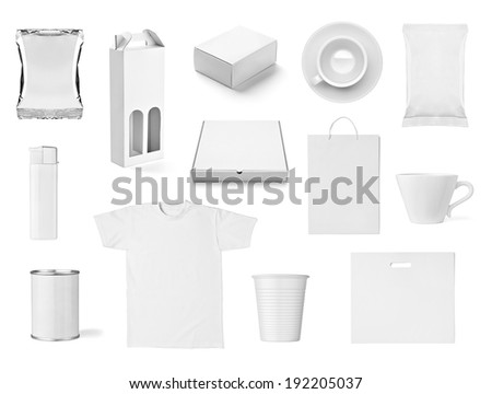 collection of  various white print templates on white background. each one is shot separately #192205037