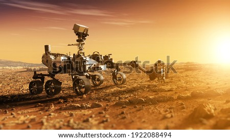 Mars Rover Perseverance exploring the red planet. Mission to explore the red planet. search for traces of life. Elements of image furnished by NASA Royalty-Free Stock Photo #1922088494