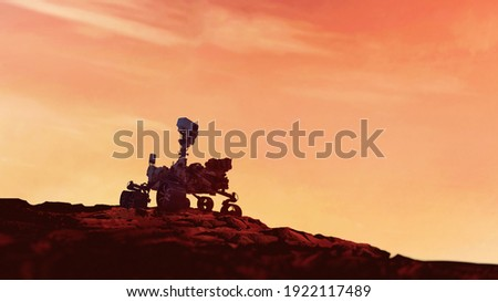 Mars Rover Perseverance exploring the red planet. Mission to explore the red planet. search for traces of life. Elements of image furnished by NASA. Royalty-Free Stock Photo #1922117489