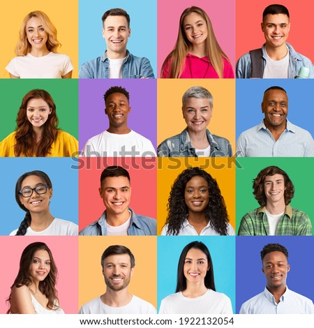 Portraits Collage. Bright Mosaic Of Different Multiethnic People Faces Smiling Posing Together Over Colorful Backgrounds. Happy And Successful Diverse Society Concept. Human Crowd Headshots, Square Royalty-Free Stock Photo #1922132054