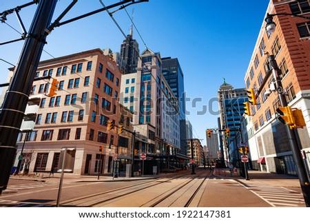 Streetcar tram line on the main street in Buffalo, NY, USA Royalty-Free Stock Photo #1922147381