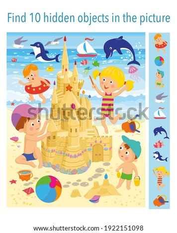 Find 10 hidden objects in the picture. Children are building a sand castle on the beach near the sea. Vector illustrations, full color.  Royalty-Free Stock Photo #1922151098