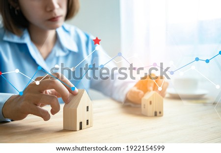 Business woman doing real estate business with an online system. Building a long-term network of loss investors. Concept of finance and investment of houses and buildings. illustration graphics design
