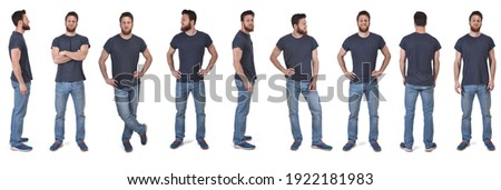 the same man in various poses with t-shirt on white background  Royalty-Free Stock Photo #1922181983