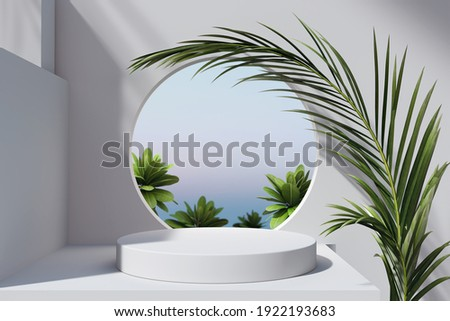 Geometric minimal scene, design for cosmetic or product display podium 3d render. Royalty-Free Stock Photo #1922193683