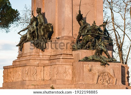 Details of Giuseppe Garibaldi Monument at Janiculum Hill in Rome, Italian Heroes Royalty-Free Stock Photo #1922198885