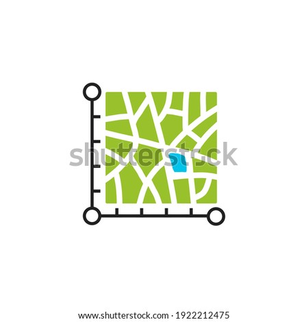 icon plot area in acres, square metres, kilometres, feet, yards, miles, hectare, are. Vector dimension area size icon Royalty-Free Stock Photo #1922212475