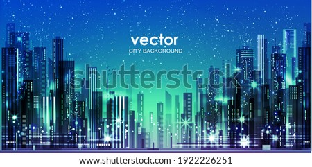 Urban vector cityscape at night. Skyline city silhouettes. City background with architecture, skyscrapers, megapolis, buildings, downtown. Royalty-Free Stock Photo #1922226251