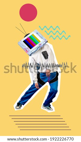 Contemporary art collage. Young man, hippster dancer headed of tv set dancing isolated on yellow geometric background. Line art. Copy space for text, design, ad. Modern creative artwork. Royalty-Free Stock Photo #1922226770