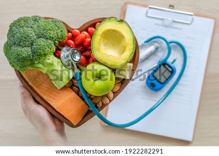 Ketogenic diet with keto food for healthy nutrition eating lifestyle for good heart health with high protein, fat, low-carb to prevent heart disease and diabetes illness control Royalty-Free Stock Photo #1922282291