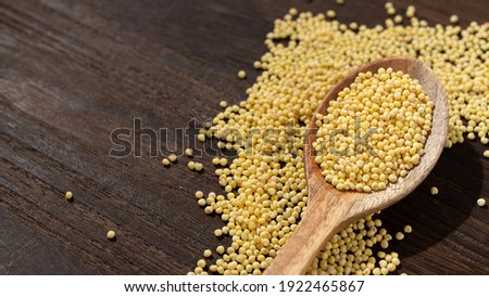 """pilled millet(""""mochi-kibi"""" in Japanese), a miscellaneous grain (made in Japan), it is popular in health-oriented people.   Royalty-Free Stock Photo #1922465867"""