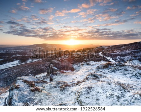 Winter scene in Yorkshire moorland close to ilkley Royalty-Free Stock Photo #1922526584