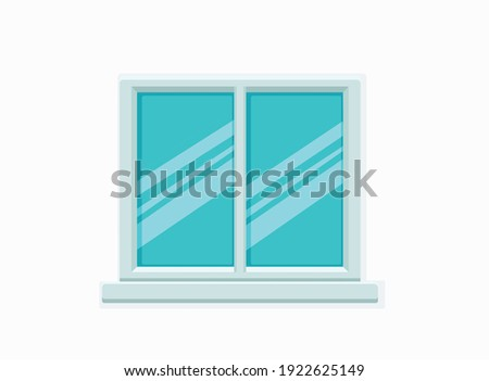 Vector window with glass and wooden frame on a brick wall. Cartoon facade house outside design element. City street wall exterior illustration  Royalty-Free Stock Photo #1922625149