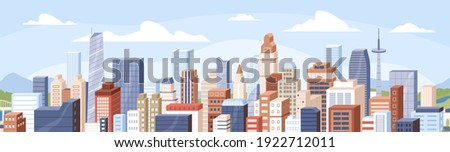Panoramic view of modern buildings, skyscrapers, towers in business city block. Horizontal cityscape of financial center or downtown on summer day. Colored flat cartoon vector illustration Royalty-Free Stock Photo #1922712011