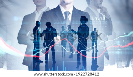 Silhouettes of three businesspeople working and researching the analytics to predict stock market behaviour. CEO in front view holding crossed hands. New York on background. Double exposure Royalty-Free Stock Photo #1922728412