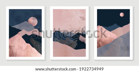 Gold mountain background vector. Mid century landscape art with sun and moon, Sea and Ocean. Modern contemporary art design for acrylic canvas , digital Prints, wallpaper, Poster, metal poster prints Royalty-Free Stock Photo #1922734949