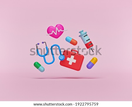 minimal health and medical related objects cartoon style design. first aid box, Medicine capsules, stethoscope, Syringe injection, heartbeat. 3d rendering