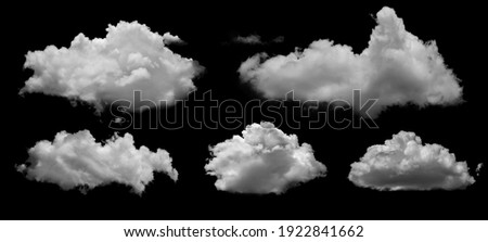 White clouds isolated on black background, clounds set on black Royalty-Free Stock Photo #1922841662