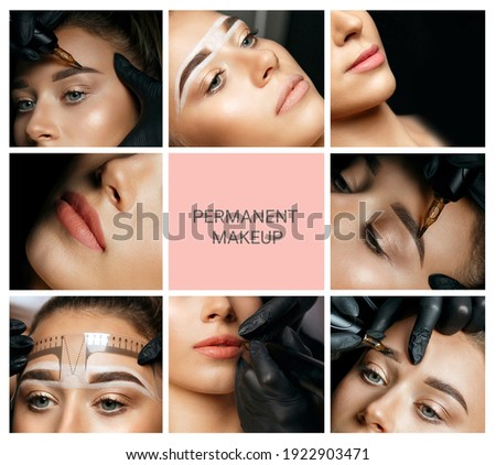 Permanent makeup collage: closeup photos of woman with eyebrow and lip permanent