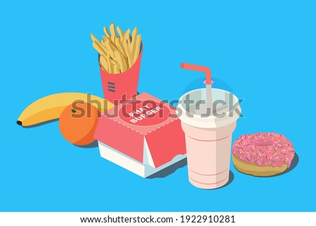 Fast Food. Burger and french fries in red carton package box, milkshake, banana, citrus orange and donut on a blue background. 3D vector isometric illustration. Royalty-Free Stock Photo #1922910281