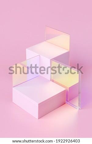 Geometric shapes podium for product display. Monochrome platform  with gloss acrylic sheets on pink background. Stylish background for presentation. Minimal style. Royalty-Free Stock Photo #1922926403