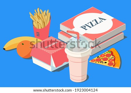 Fast Food. Burger, pizza and french fries in red carton package box, milkshake, banana, citrus orange on a blue background. 3D vector isometric illustration. Royalty-Free Stock Photo #1923004124