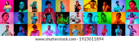 Collage of faces of 16 emotional people on multicolored backgrounds in neon light, fluid. Expressive models, multiethnic group. Human emotions, facial expression concept. Movie, fashion, music, beauty Royalty-Free Stock Photo #1923011894