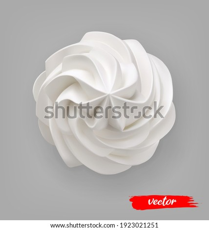 Whipped Cream swirl on gray background. 3d realistic vector illustration of whipped cream. Top view. Royalty-Free Stock Photo #1923021251