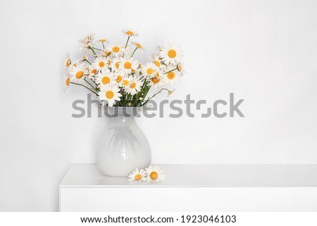 a bouquet of daisies in a white glass vase on a white table, flowers for grandmother's birthday, for women's day, flowers in a white interior