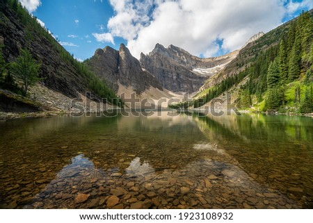 Lake Agnes on the Tea House Trail during summer in Banff National Park, Alberta, Canada. Royalty-Free Stock Photo #1923108932