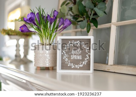 Hello spring sign with purple flowers on the mantel