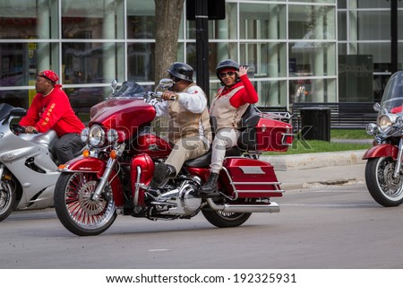 """Madison, Wisconsin - May 10 : Motorcycle rally in the state capitol of Wisconsin for """"motorcycle awareness month"""" , May 10 2014 in Madison Wisconsin #192325931"""