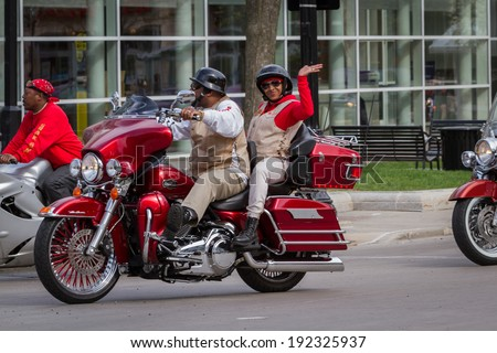 """Madison, Wisconsin - May 10 : Motorcycle rally in the state capitol of Wisconsin for """"motorcycle awareness month"""" , May 10 2014 in Madison Wisconsin #192325937"""