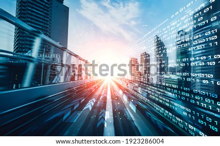 Digital data flow on road with motion blur to create vision of fast speed transfer . Concept of future digital transformation , disruptive innovation and agile business methodology . Royalty-Free Stock Photo #1923286004