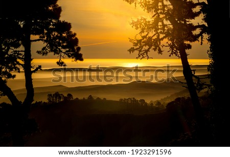 Tequila sunrise mountain valley fog. Tequila sunrise. Tequila sunrsie landscape. Tequila sunrise scene Royalty-Free Stock Photo #1923291596
