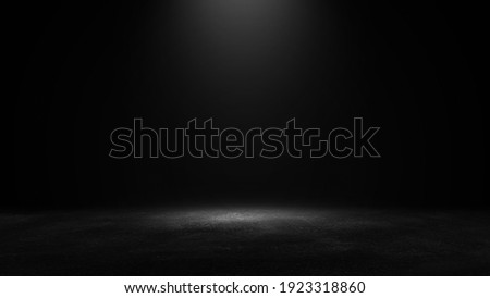 Product showcase with spotlight. Black studio room background. Use as montage for product display Royalty-Free Stock Photo #1923318860