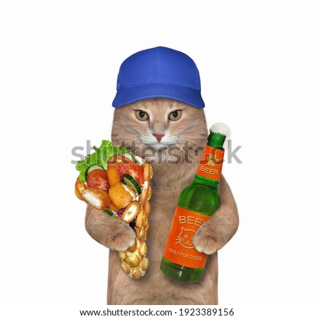 A beige cat holds a bottle of beer and soft waffles with chicken nuggets. White background. Isolated.