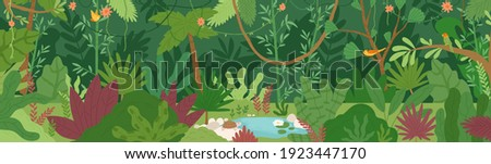 Horizontal landscape of tropical jungle. Panoramic view of dense forest with palms and lianas. Exotic colorful scenery of green rainforest with foliage plants. Colored flat vector illustration Royalty-Free Stock Photo #1923447170