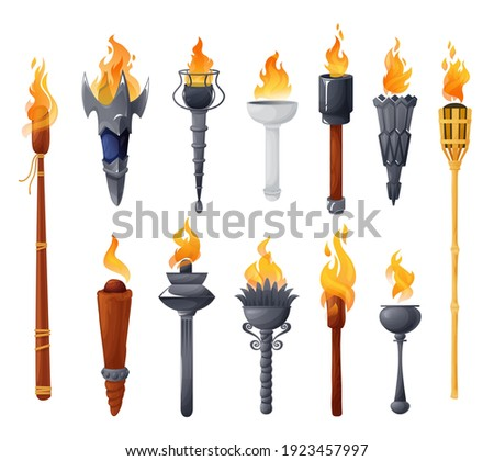 Medieval torches with burning fire vector set. Ancient metal and wooden brands of different shapes with flame. Cartoon elements for pc game, flaming torchlight or lighting flambeau isolated icons