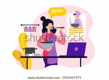 Online culinary courses. Female character cooking and watching online recipe. Woman cooking with male chef. Culinary video tutorial, online class. Flat vector illustration Royalty-Free Stock Photo #1923467375