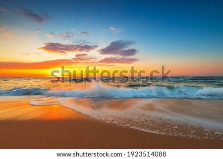 Beautiful cloudscape over the sea, sunrise shot Royalty-Free Stock Photo #1923514088