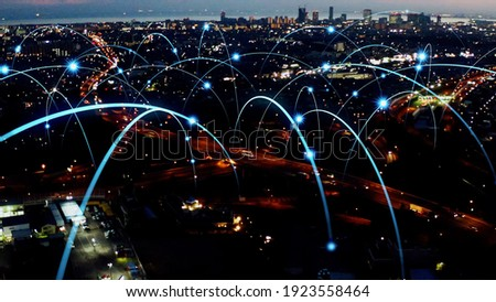 Smart city and communication network concept. 5G. LPWA (Low Power Wide Area). Wireless communication. Royalty-Free Stock Photo #1923558464