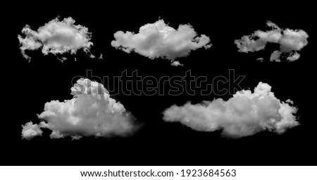 White clouds isolated on black background, clounds set on black Royalty-Free Stock Photo #1923684563