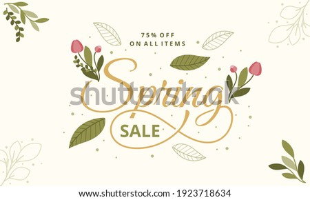 Hello Spring hand logotype, badge typography icon. Lettering spring season with leaf for greeting card, invitation template. Retro, vintage lettering banner poster template background, Sale, offer Royalty-Free Stock Photo #1923718634